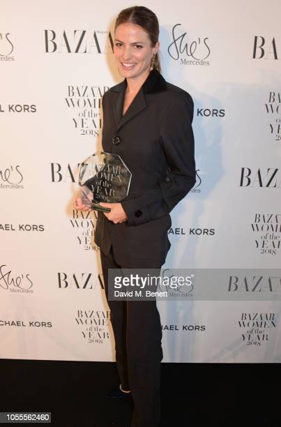 Cameron Russell attends the Harper's Bazaar Women Of The Year Awards 2018 in partnership with Michael Kors and MercedesBenz at Claridge's Hotel on...