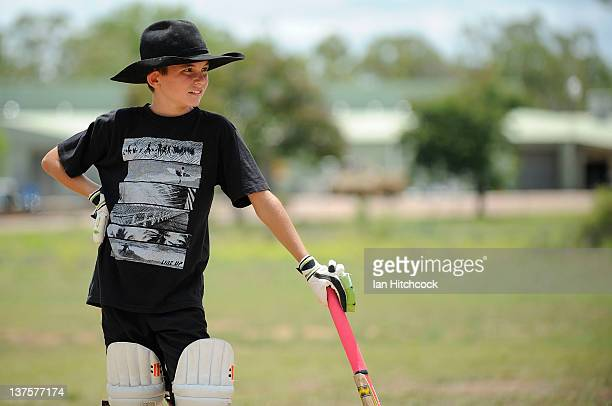 Cameron Sheahan from the team 'Hidden Talent' looks on during batting during the 2012 Goldfield Ashes cricket competition on January 22 2012 in...
