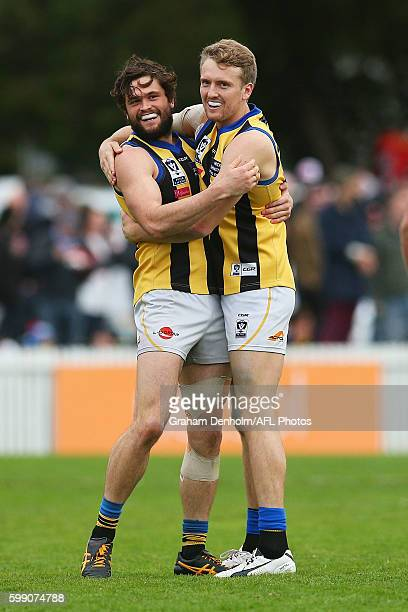 Cameron Shenton and Thomas Lee of Sandringham celebrate a goal during the VFL Elimination Final match between Port Melbourne and Sandringham at North...