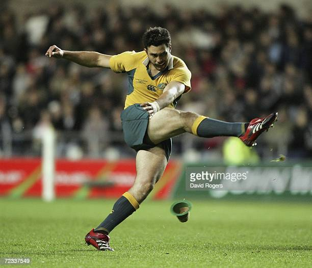 Cameron Shepherd of Australia kicks a penalty during the rugby union match between Ospreys and Australia at the Liberty Stadium on November 1 2006 in...