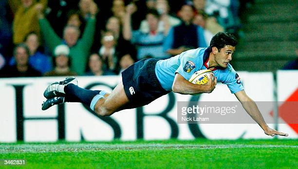 Cameron Shepherd of the Waratahs crosses for a try during the Super 12 match between the NSW Waratahs and the ACT Brumbies at Aussie Stadium on April...