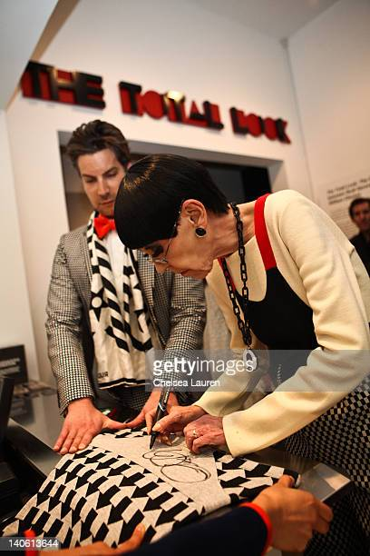 "Cameron Silver and Peggy Moffitt attend the MOCA Leadership Circle reception and members' opening for ""The Total Look: The Creative Collaboration..."