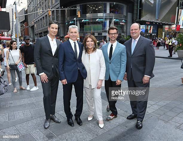 Cameron Silver Robert D'Loren Judith Ripka Brad Goreski and David Wicks attend Xcel Brands Inc rings The NASDAQ Closing Bell at NASDAQ MarketSite on...