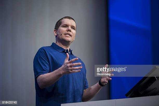 Cameron Skinner product unit manager for Microsoft Corp speaks during a keynote session at the Microsoft Developers Build Conference in San Francisco...