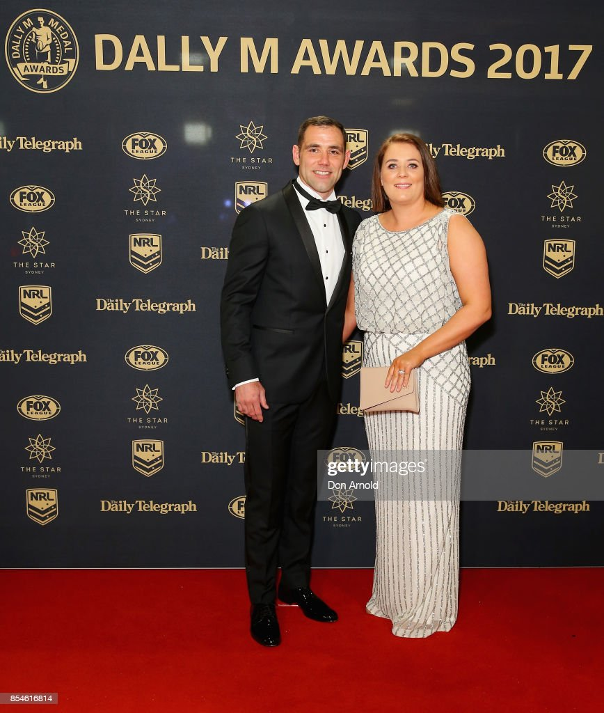Cameron Smith and Barbara Smith arrive ahead of the Dally M Awards at The Star on September 27, 2017 in Sydney, Australia.