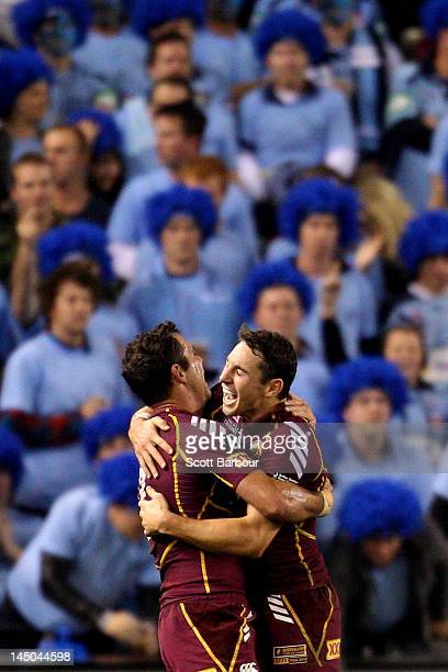 Cameron Smith and Billy Slater of the Maroons celebrate winning at fulltime after game one of the ARL State of Origin series between the Queensland...