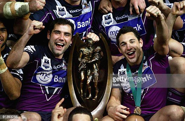 Cameron Smith and Billy Slater of the Storm celebrate after winning the 2009 NRL Grand Final match between the Parramatta Eels and the Melbourne...