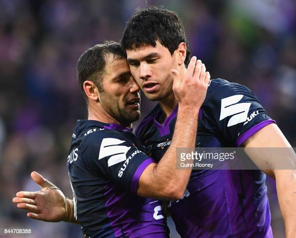 Cameron Smith and Jordan McLean of the Storm celebrate winning the NRL Qualifying Final match between the Melbourne Storm and the Parramatta Eels at...