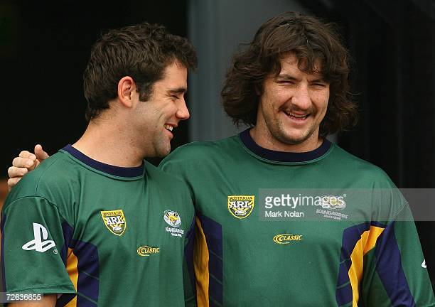 Cameron Smith and Nathan Hindmarsh of the Kangaroos share a joke before the Australian Kangaroos training session for the Tri Nations final against...