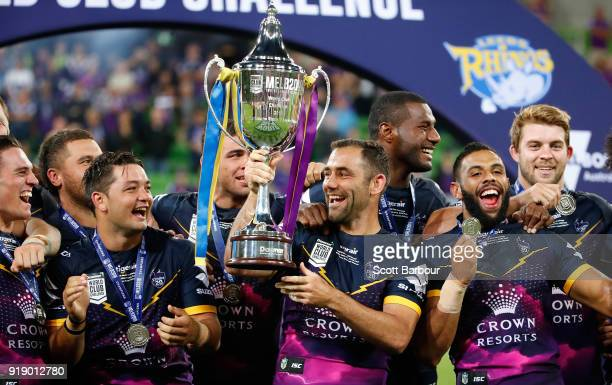 Cameron Smith and the Storm celebrate with the World Club Challenge Cup during the World Club Challenge match between the Melbourne Storm and the...