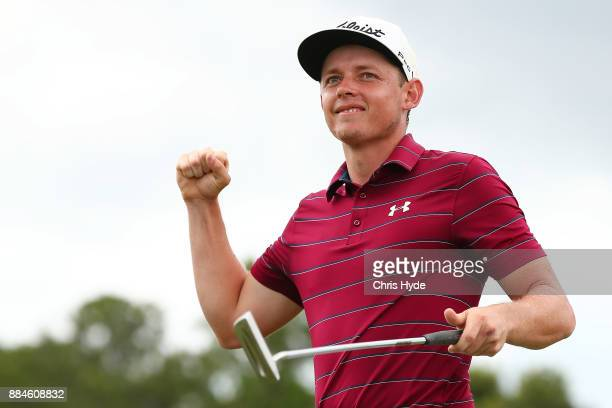Cameron Smith celebrates winning o on day four of the 2017 Australian PGA Championship at Royal Pines Resort on December 3 2017 in Gold Coast...