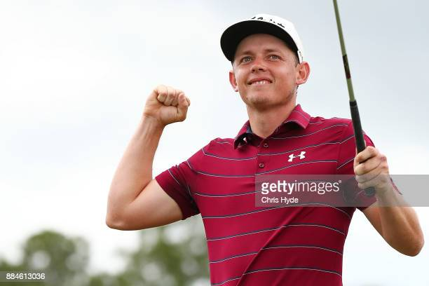 Cameron Smith celebrates winning on day four of the 2017 Australian PGA Championship at Royal Pines Resort on December 3 2017 in Gold Coast Australia