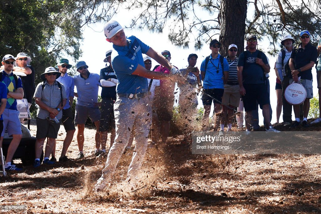 Cameron Smith hits an approach shot on the 15th hole during day three of the 2017 Australian Golf Open at The Australian Golf Club on November 25, 2017 in Sydney, Australia.