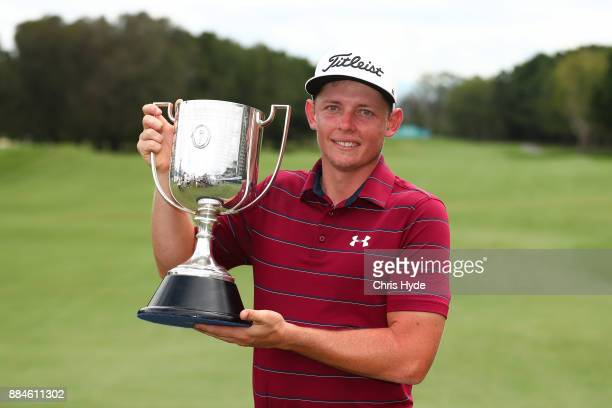 Cameron Smith holds the Kirkwood Cup after winning on day four of the 2017 Australian PGA Championship at Royal Pines Resort on December 3 2017 in...