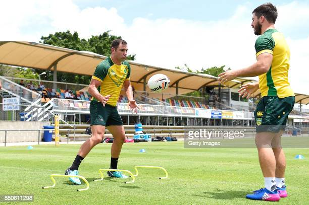 Cameron Smith in action during the Australian Kangaroos Rugby League World Cup training session at Langlands Park on November 28 2017 in Brisbane...
