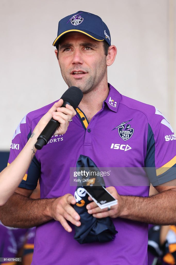 Cameron Smith (Captain) is interviewed on stage during the Melbourne Storm Family Day on February 3, 2018 in Melbourne, Australia.