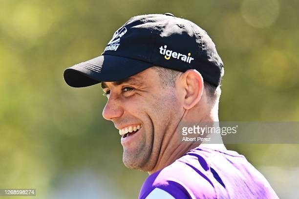 Cameron Smith is seen during a Melbourne Storm NRL training session at Sunshine Coast Stadium on August 26, 2020 in Sunshine Coast, Australia.
