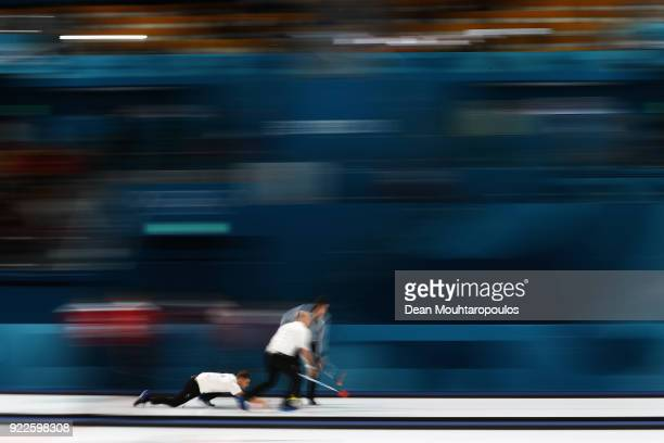 Cameron Smith Kyle Waddell Thomas Muirhead and Kyle Smith of Great Britain compete in the Curling Men's Tiebreaker against Switzerland on day...