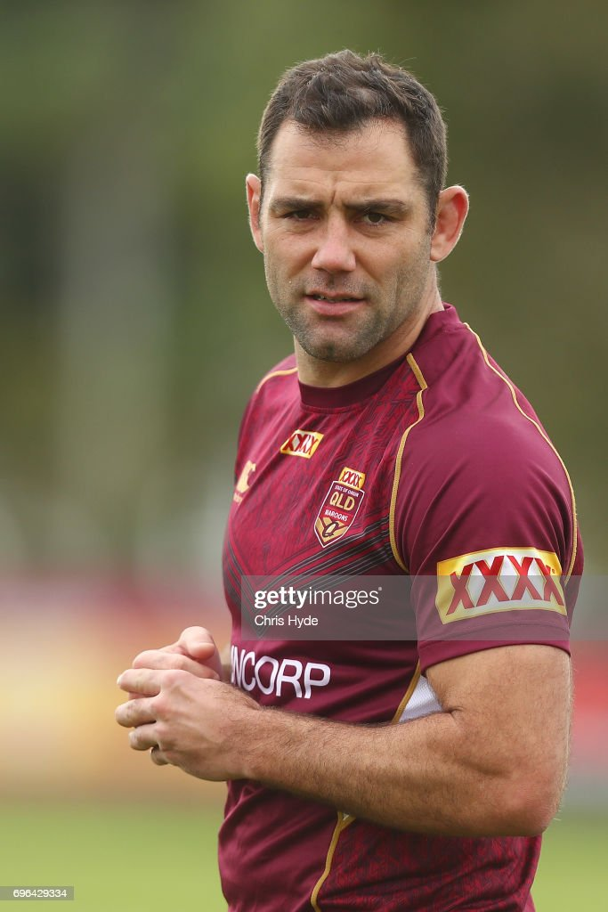 Cameron Smith looks on during a Queensland Maroons State of Origin training session at Intercontinental Sanctuary Cove Resort on June 16, 2017 in Brisbane, Australia.