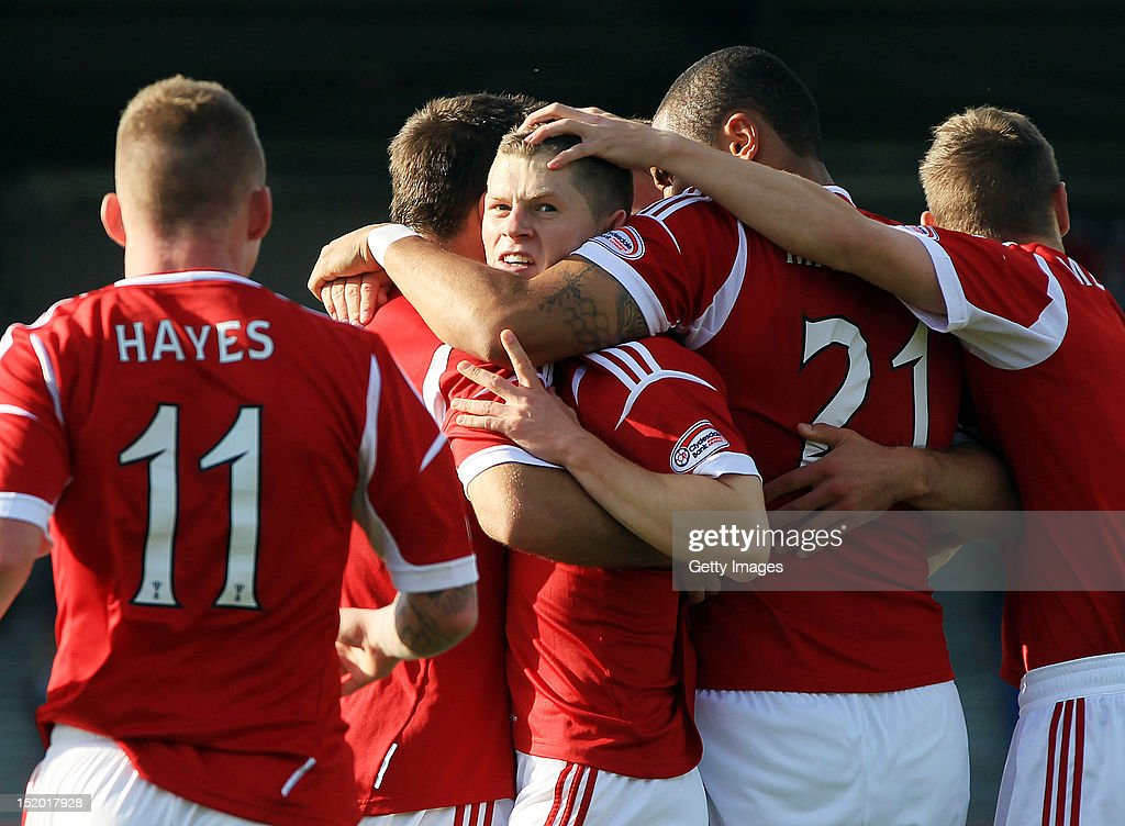 Cameron Smith (C) of Aberdeen celebrates his goal with team-mates during the Clydesdale Bank Scottish Premier League match between Inverness Caledonian Thistle and Aberdeen on September 15, 2012 in Inverness, Scotland.
