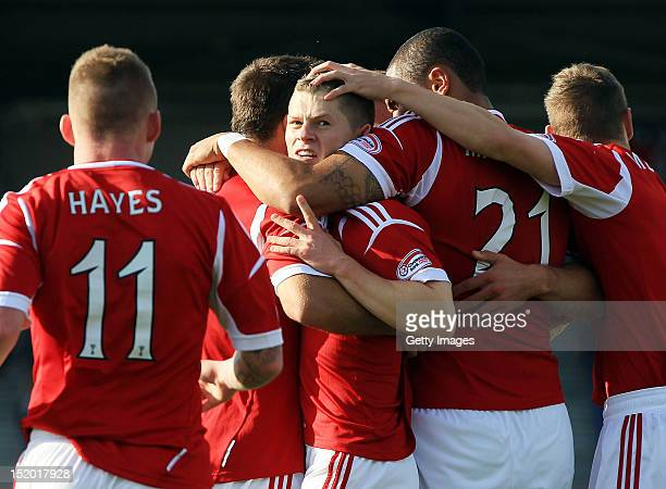 Cameron Smith of Aberdeen celebrates his goal with teammates during the Clydesdale Bank Scottish Premier League match between Inverness Caledonian...