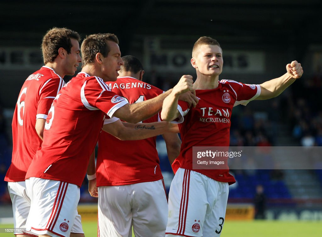 Cameron Smith of Aberdeen celebrates scoring during the Clydesdale Bank Scottish Premier League match between Inverness Caledonian Thistle and Aberdeen on September 15, 2012 in Inverness, Scotland.
