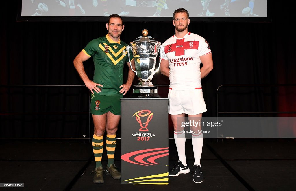 Cameron Smith of Australia and Sean O'Loughlin of England pose for a photo during a Rugby League World Cup media opportunity at Sofitel Brisbane on October 22, 2017 in Brisbane, Australia.