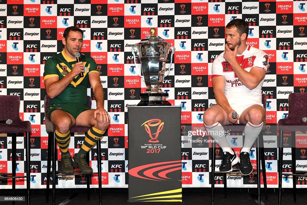 Cameron Smith of Australia and Sean O'Loughlin of England speak to the media during a Rugby League World Cup media opportunity at Sofitel Brisbane on October 22, 2017 in Brisbane, Australia.