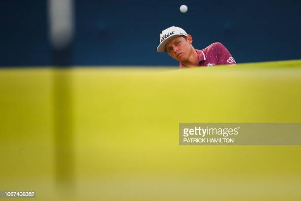 Cameron Smith of Australia hits a shot during the final round of the Australian PGA Championship at the Royal Pines golf course on the Gold Coast on...