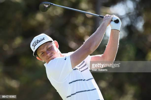 Cameron Smith of Australia hits his tee shot on the 18th hole during the third round of the CJ Cup at Nine Bridges on October 21 2017 in Jeju South...