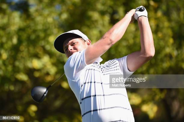 Cameron Smith of Australia hits his tee shot on the 6th hole during the third round of the CJ Cup at Nine Bridges on October 21 2017 in Jeju South...