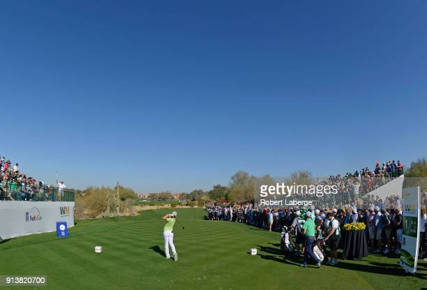 Cameron Smith of Australia hits his tee shot on the first hole during the third round of the Waste Management Phoenix Open at TPC Scottsdale on...