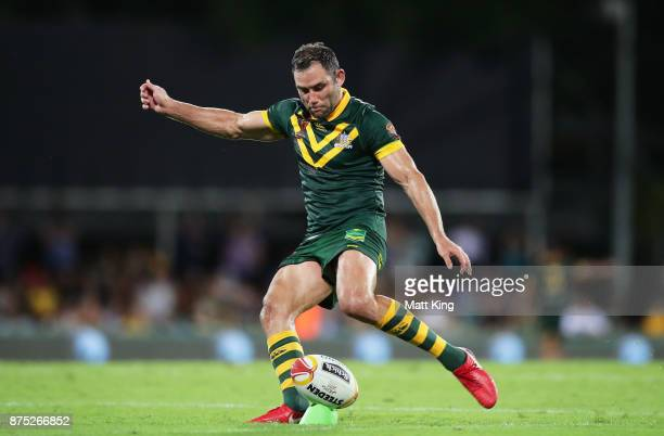 Cameron Smith of Australia kicks a conversion during the 2017 Rugby League World Cup Quarter Final match between Australia and Samoa at Darwin...
