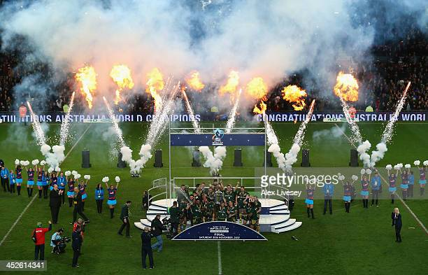 Cameron Smith of Australia lifts the Rugby League World Cup aloft after victory over New Zealand in the Rugby League World Cup Final between New...