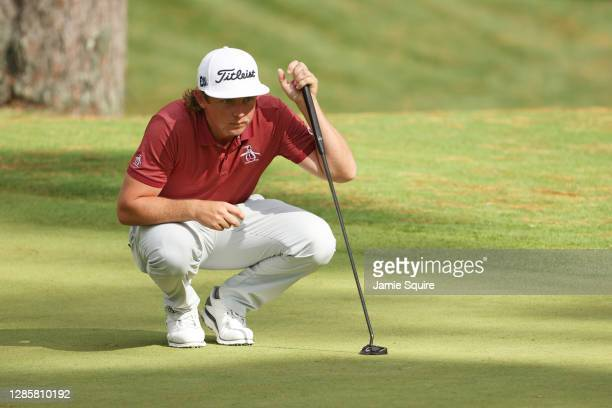 Cameron Smith of Australia lines up a putt on the 10th green during the final round of the Masters at Augusta National Golf Club on November 15, 2020...