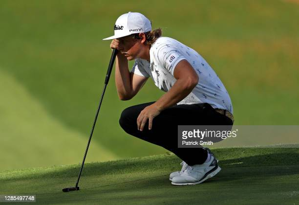 Cameron Smith of Australia lines up a putt on the seventh green during the second round of the Masters at Augusta National Golf Club on November 13,...