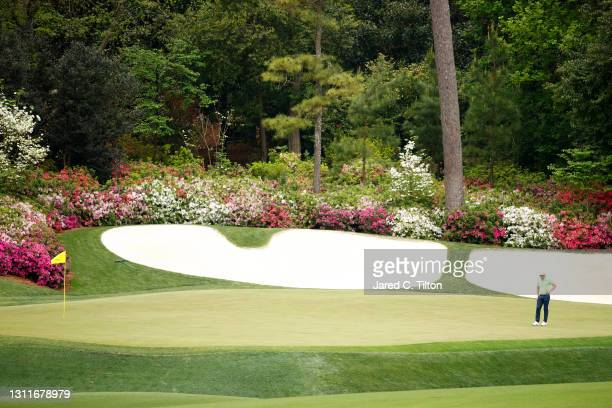 Cameron Smith of Australia looks on from the 13th green during the second round of the Masters at Augusta National Golf Club on April 09, 2021 in...