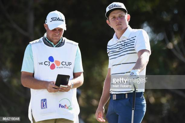 Cameron Smith of Australia looks on prior to his tee shot on the 18th hole during the third round of the CJ Cup at Nine Bridges on October 21 2017 in...