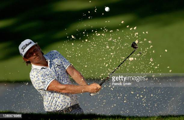 Cameron Smith of Australia plays a shot from a bunker on the 10th hole during the third round of the Masters at Augusta National Golf Club on...