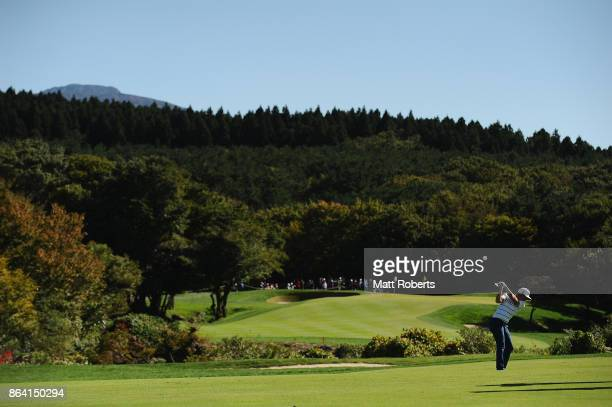 Cameron Smith of Australia plays his second shot on the 4th hole during the third round of the CJ Cup at Nine Bridges on October 21 2017 in Jeju...