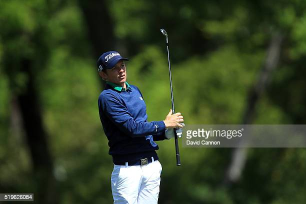 Cameron Smith of Australia plays his second shot on the fifth hole during the first round of the 2016 Masters Tournament at Augusta National Golf...