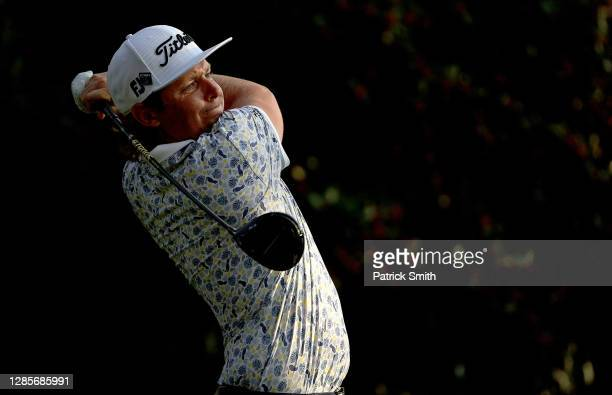 Cameron Smith of Australia plays his shot from the 15th tee during the third round of the Masters at Augusta National Golf Club on November 14, 2020...