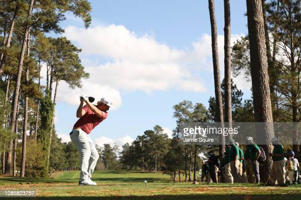 Cameron Smith of Australia plays his shot from the 17th tee during the final round of the Masters at Augusta National Golf Club on November 15, 2020...