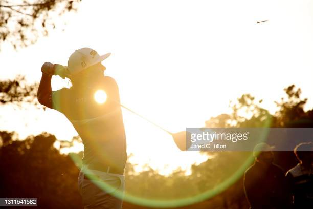 Cameron Smith of Australia plays his shot from the 18th tee during the first round of the Masters at Augusta National Golf Club on April 08, 2021 in...