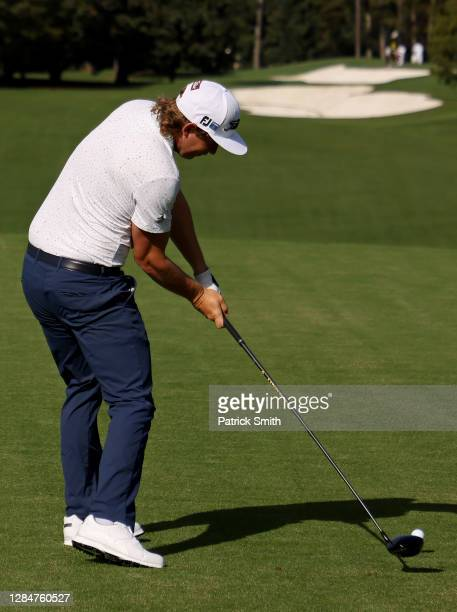 Cameron Smith of Australia plays his shot from the first tee during a practice round prior to the Masters at Augusta National Golf Club on November...