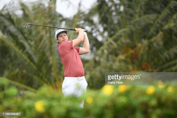 Cameron Smith of Australia plays his shot from the seventh tee during the final round of the Sony Open in Hawaii at the Waialae Country Club on...