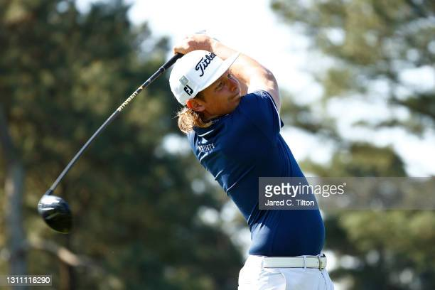 Cameron Smith of Australia plays his shot from the third tee during a practice round prior to the Masters at Augusta National Golf Club on April 06,...