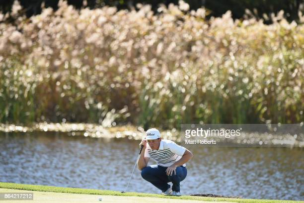 Cameron Smith of Australia prepares to putt on the 5th green during the third round of the CJ Cup at Nine Bridges on October 21 2017 in Jeju South...