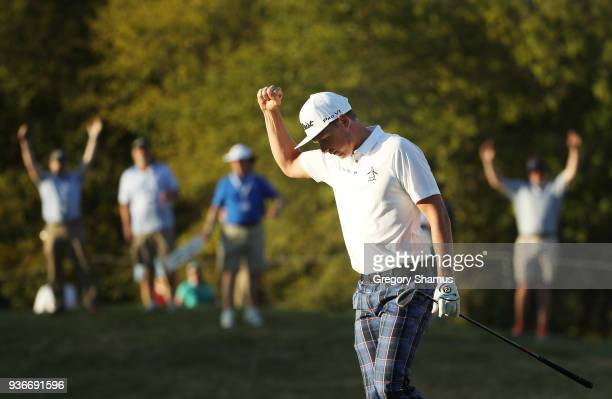 Cameron Smith of Australia reacts after chipping in on the 16th hole during the second round of the World Golf ChampionshipsDell Match Play at Austin...