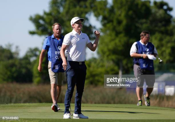 Cameron Smith of Australia reacts after putting in to win in a suddendeath playoff during a continuation of the final round of the Zurich Classic at...
